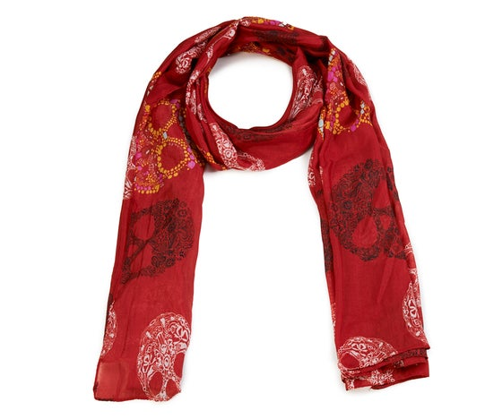 Image of Red Skull print Long scarf