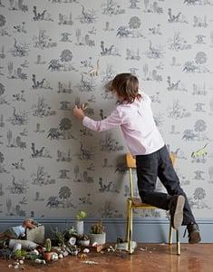 Image of Magnetic Dino Wallpaper - Grey