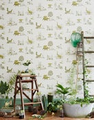 Image of Dino Wallpaper-Yellow Green