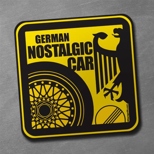 Image of german nostalgic car sticker 3 x 3 inch black yellow