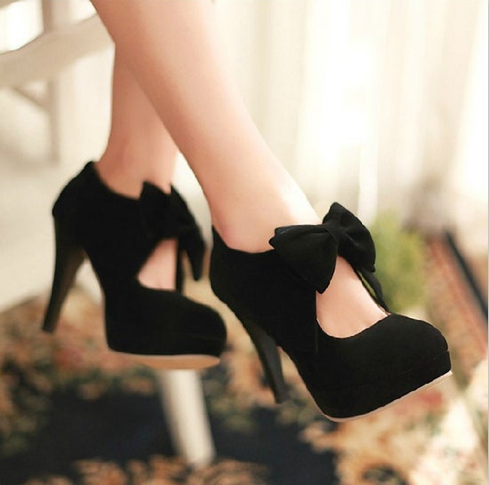 Image of bowknot high-heeled shoes/A325