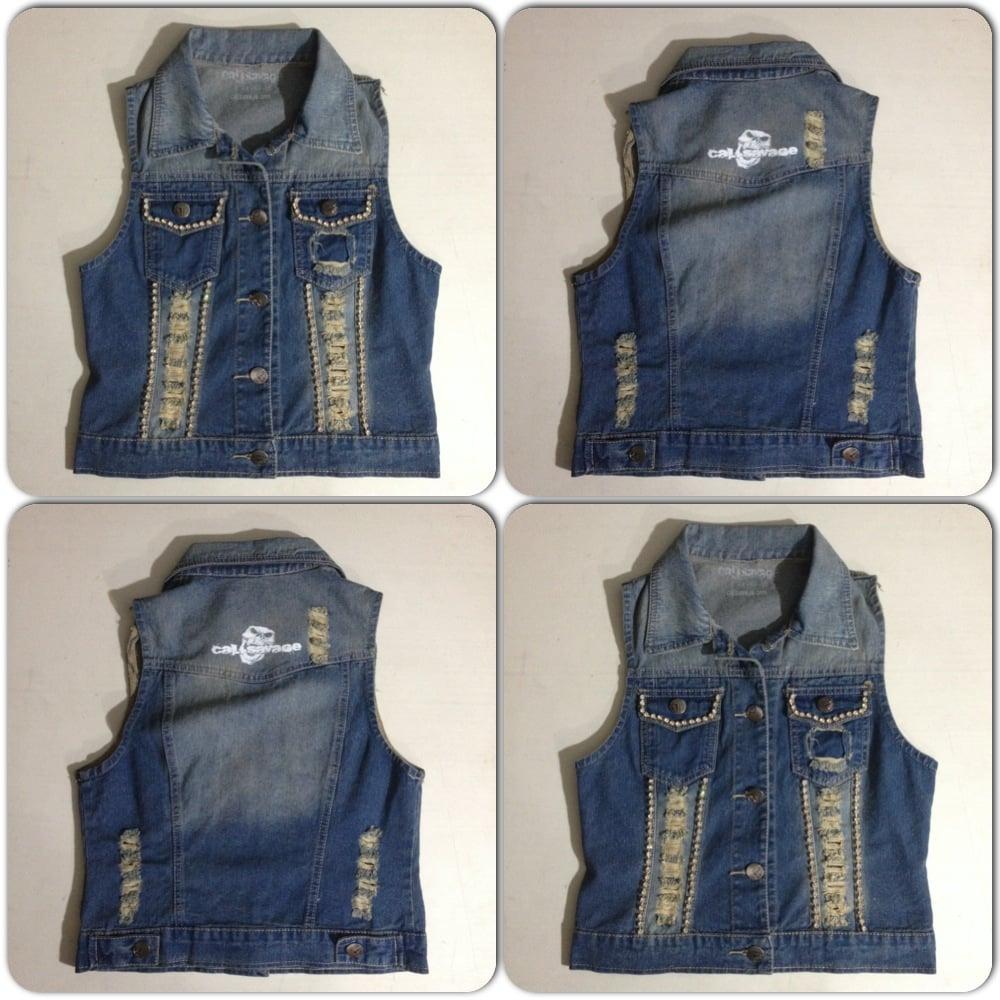 Image of Ladies - Jean vest with Rhinestones