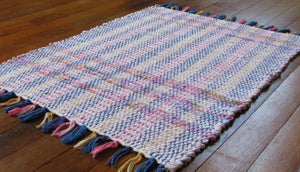 Image of Rag Rug - Pale pink, blue, lime, purple, lilac, yellow / Eco-Friendly upcycled fabric