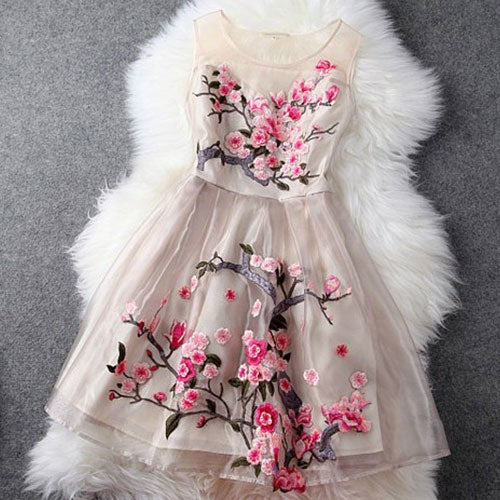 Image of [grzxy6601015]Embroidery Flowers Sheer Ruffled Layered Evening Tank Dress
