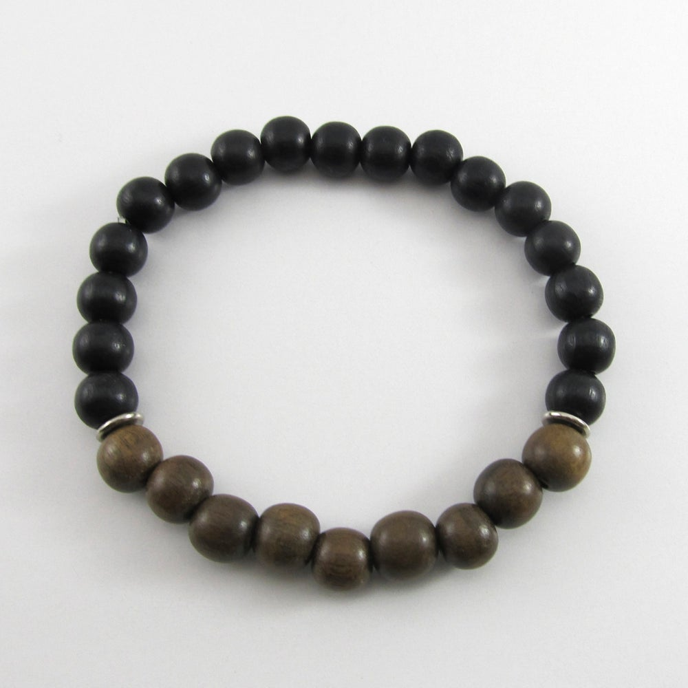 Image of Greywood and black wooden beaded bracelet