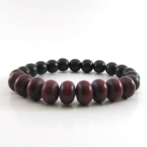 Image of Maroon Rondelle and black wooden beaded bracelet