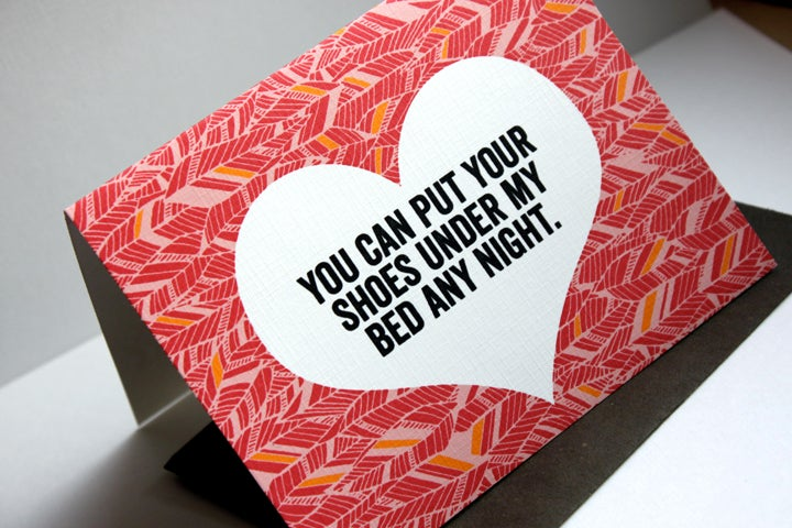 Image of You can put your shoes under my bed any night.