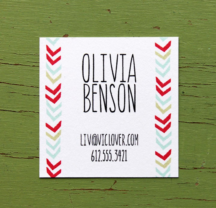Image of Chevron Lines Calling Cards in Color- 2 inch square-set of 50