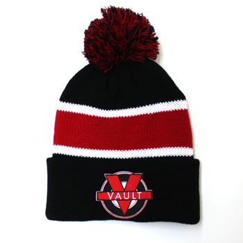 """Image of """"Vault Life"""" Knit Beanie (Black/Red)"""