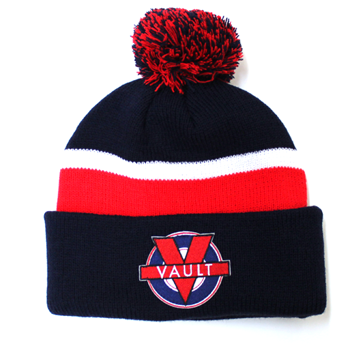 """Image of """"Vault Life"""" Knit Beanie (Navy/Red)"""
