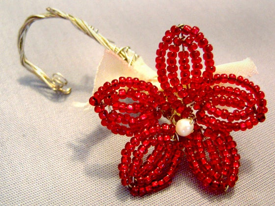 Image of French Beaded Flower Pin
