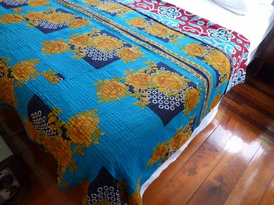 Image of Kantha Quilt Bedspread Throw - Blue Yellow Red Turquoise