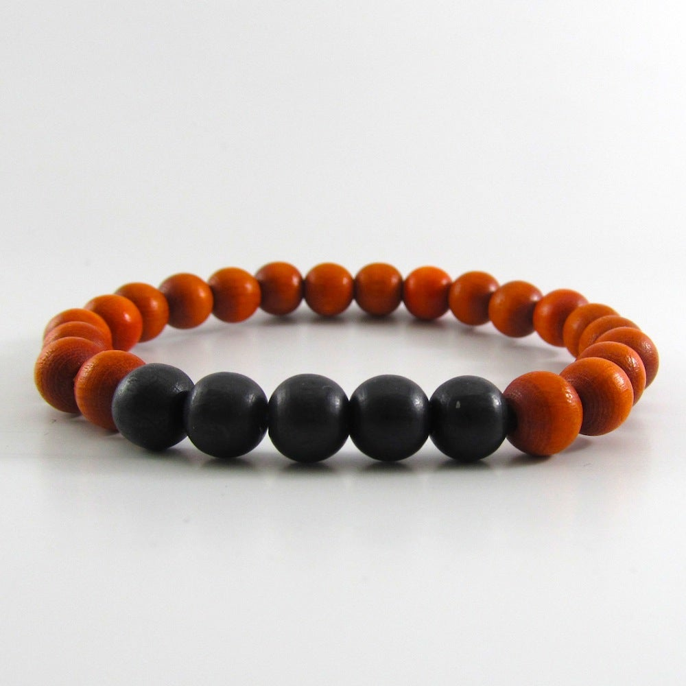 Image of Orange and Black Beaded Stretch Bracelet