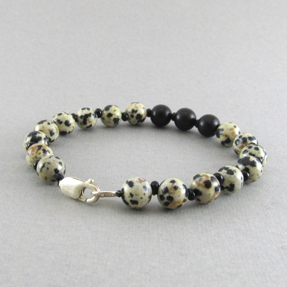 Image of Jasper Beaded sterling silver clasp bracelet