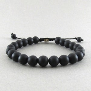 Image of Matt hematite adjustable personalised bracelet