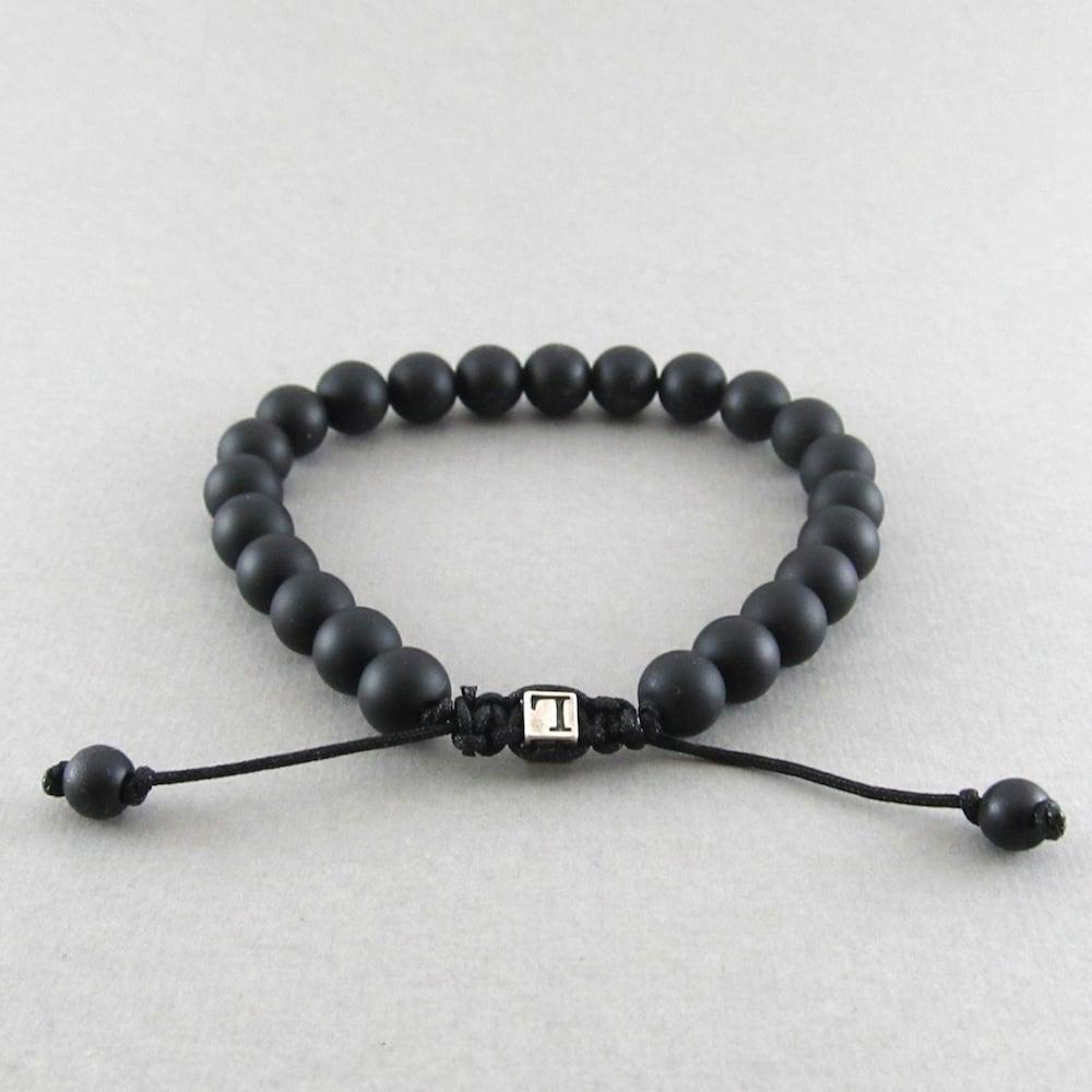 Image of Matt hematite adjustable personalised bracelet