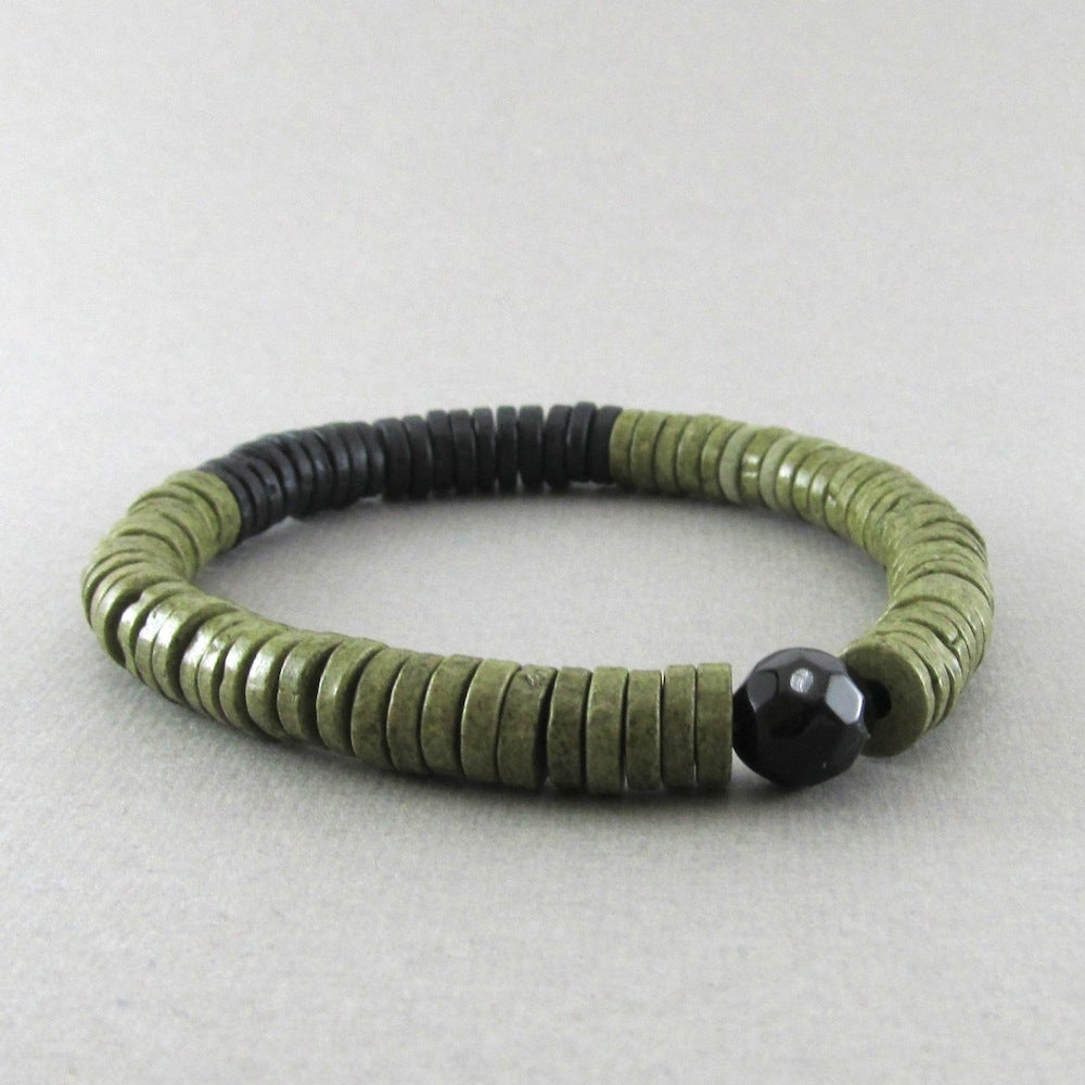 Image of Olive green and black disc and faceted bead bracelet