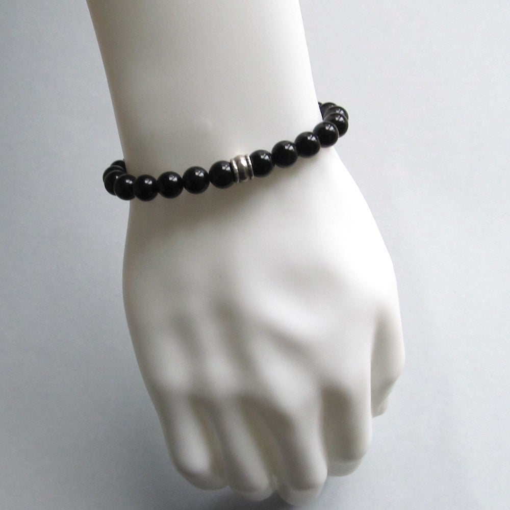 Image of Black Agate and silver bead bracelet