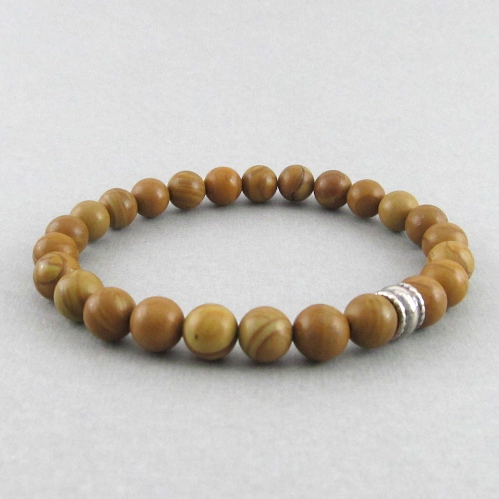 Image of Wood Grain stone and silver bead bracelet
