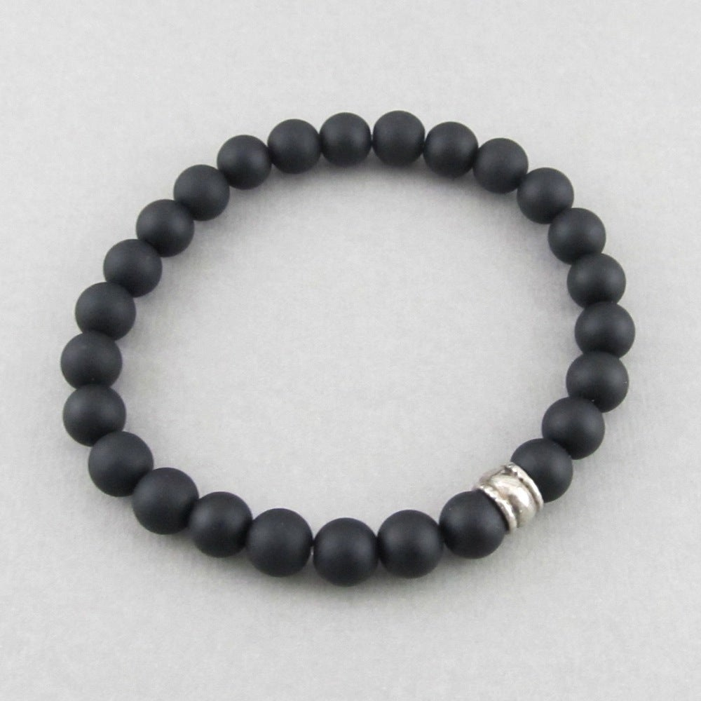 Image of Matt hematite and silver bead bracelet
