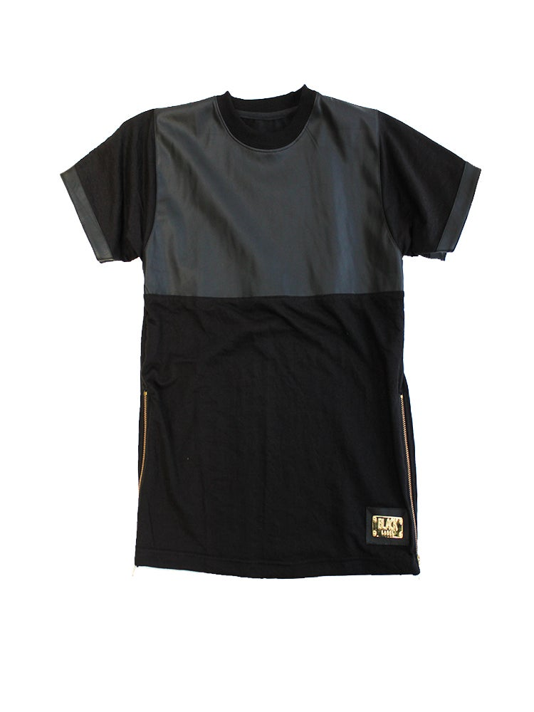 Image of Leather Panel TShirt