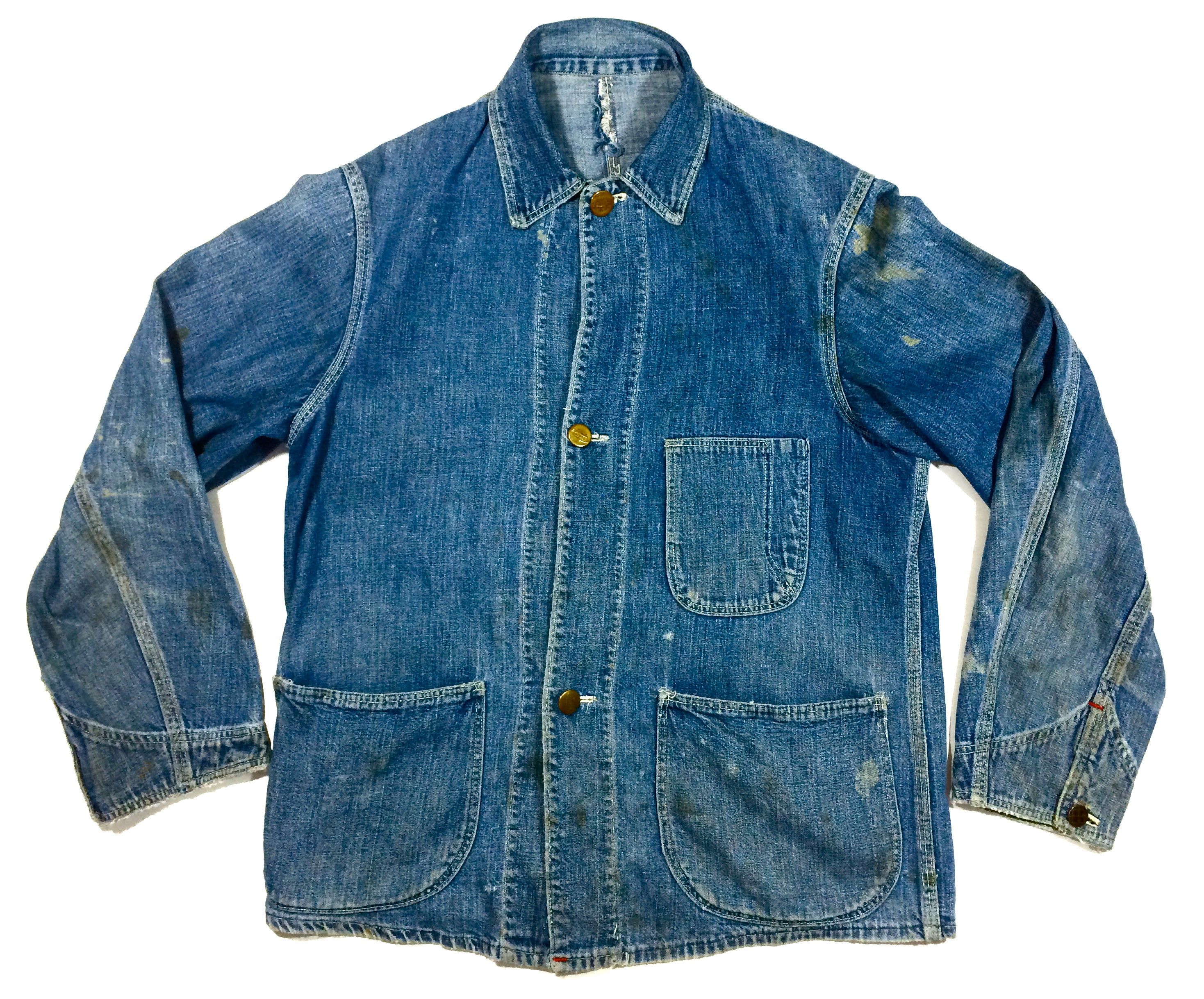Image of 1930's vintage chore jacket with locomotive change buttons