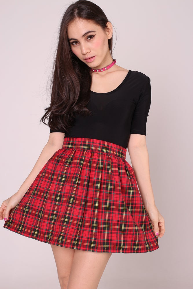 Image of GFD Red Tartan Mini Skirt