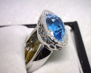 Image of 14K White Gold Blue Topaz / Diamond Ring