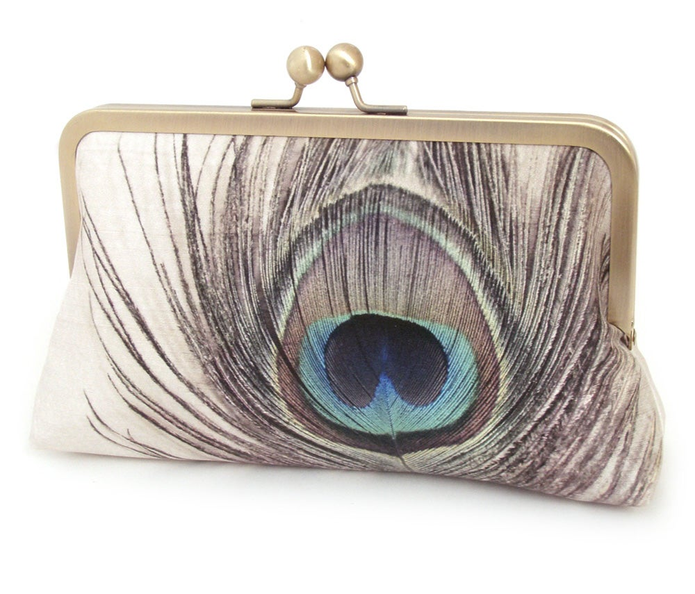 Image of Peacock feather clutch bag, peacock purse, bridesmaid gift