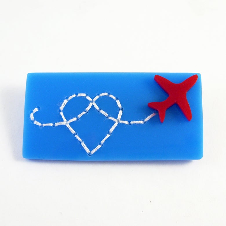 Image of Red Arrows Heart brooch