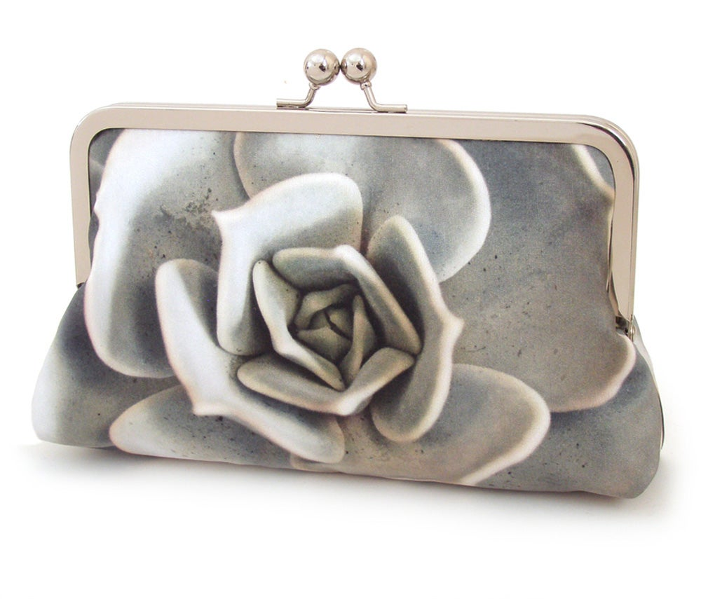 Image of Grey green succulent flower clutch bag, cacti silk purse