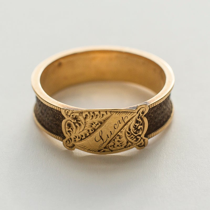 Image of Antique Victorian Lucy Mourning Hair Ring