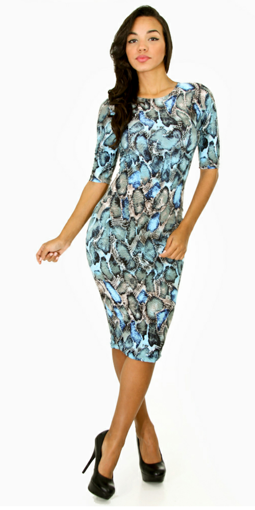 Image of Blue Leopard Bodycon Dress