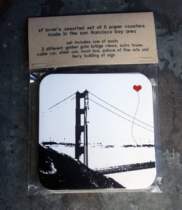 Image of San Francisco Lover's Paper Coaster assorted set of 8 by note•ify