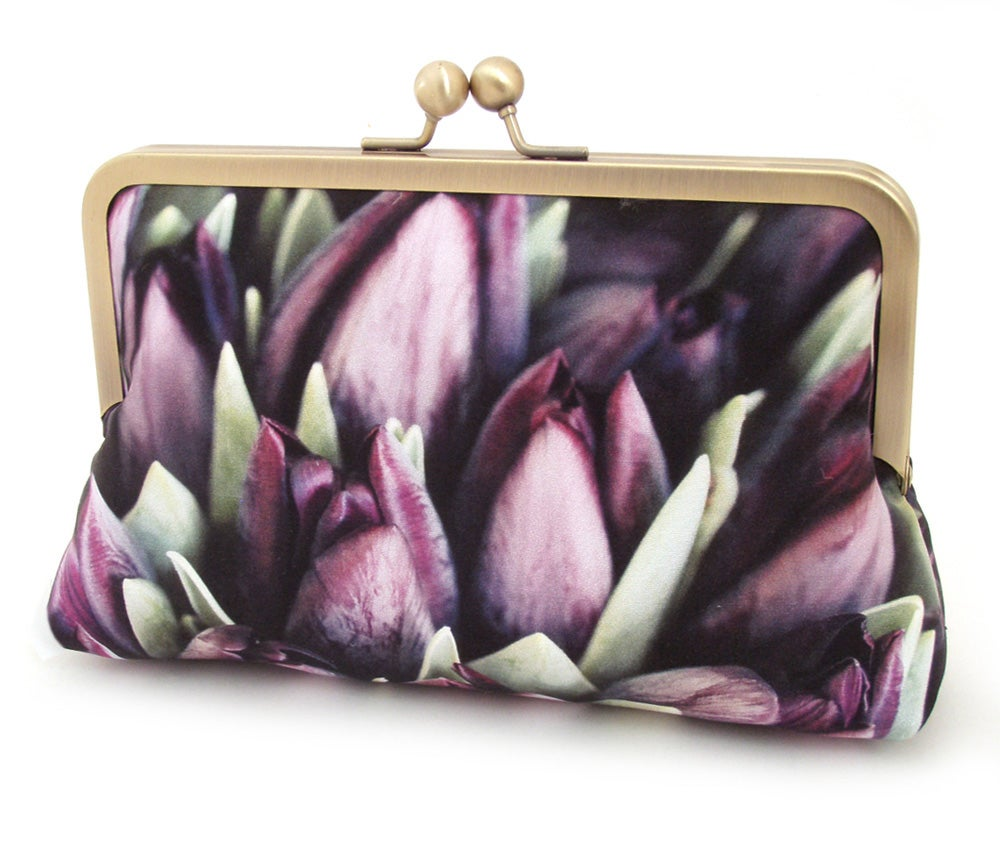 Image of Tulips clutch bag, purple flower silk wedding purse