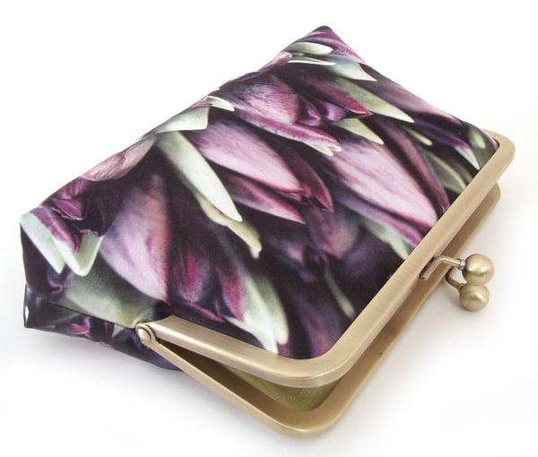 Purple tulips clutch bag, silk wedding purse - Red Ruby Rose