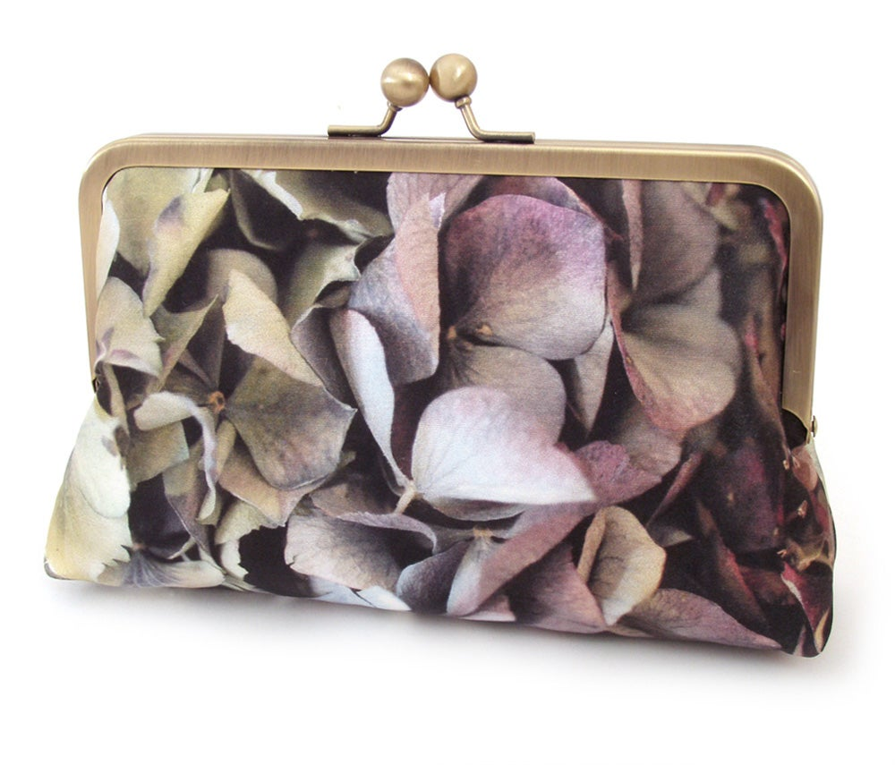 Image of Clutch bag, silk purse, flower petals, hydrangea petals