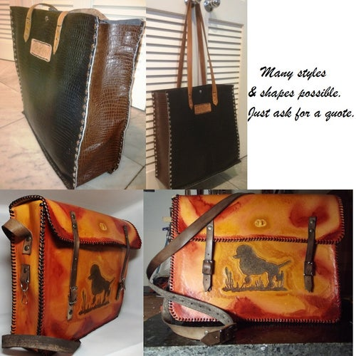 Image of Custom Hand Tooled Leather Tote, Shopping style Hand Bag Purse