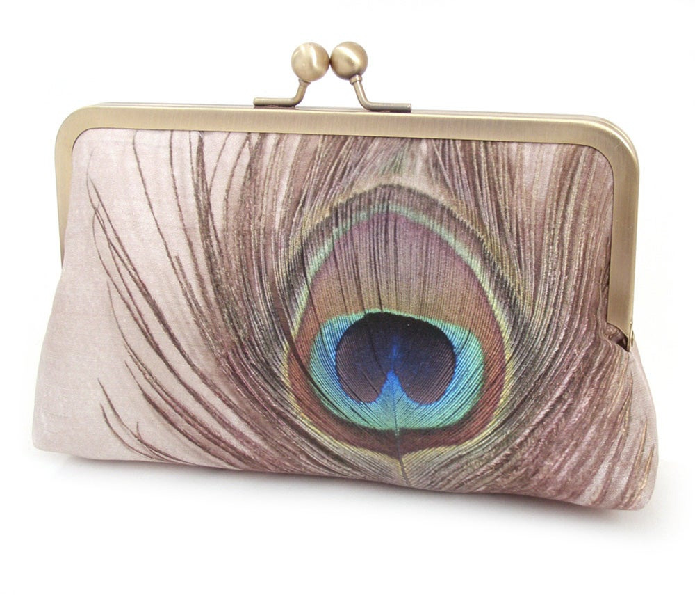 Image of Peacock Feather - an original silk clutch purse, peacock purse, peacock feather bag