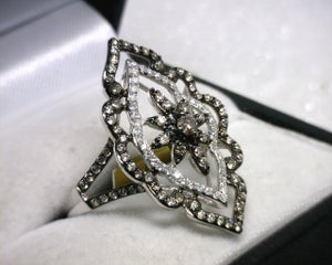 Image of 14K White Gold Brown / White Diamond Ring