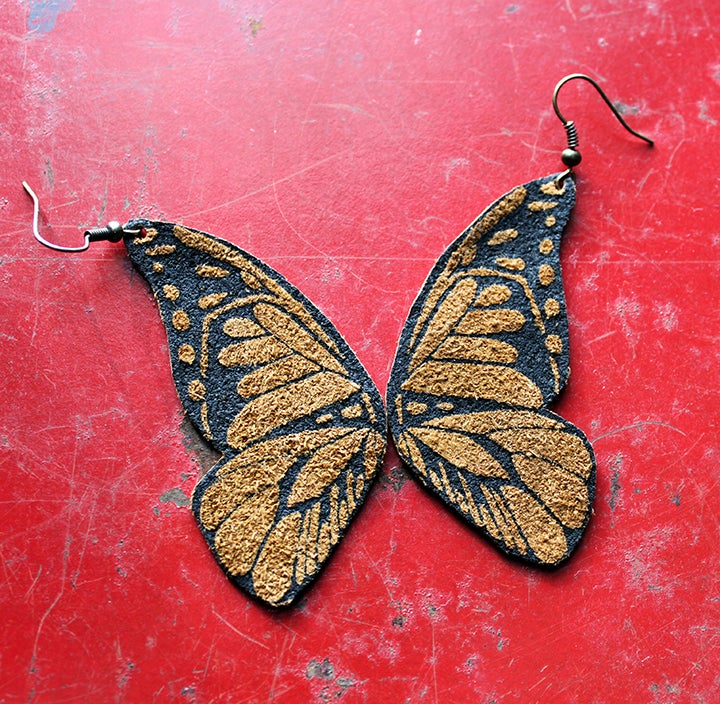 Image of Screen Printed Leather Earrings-Butterfly Wings