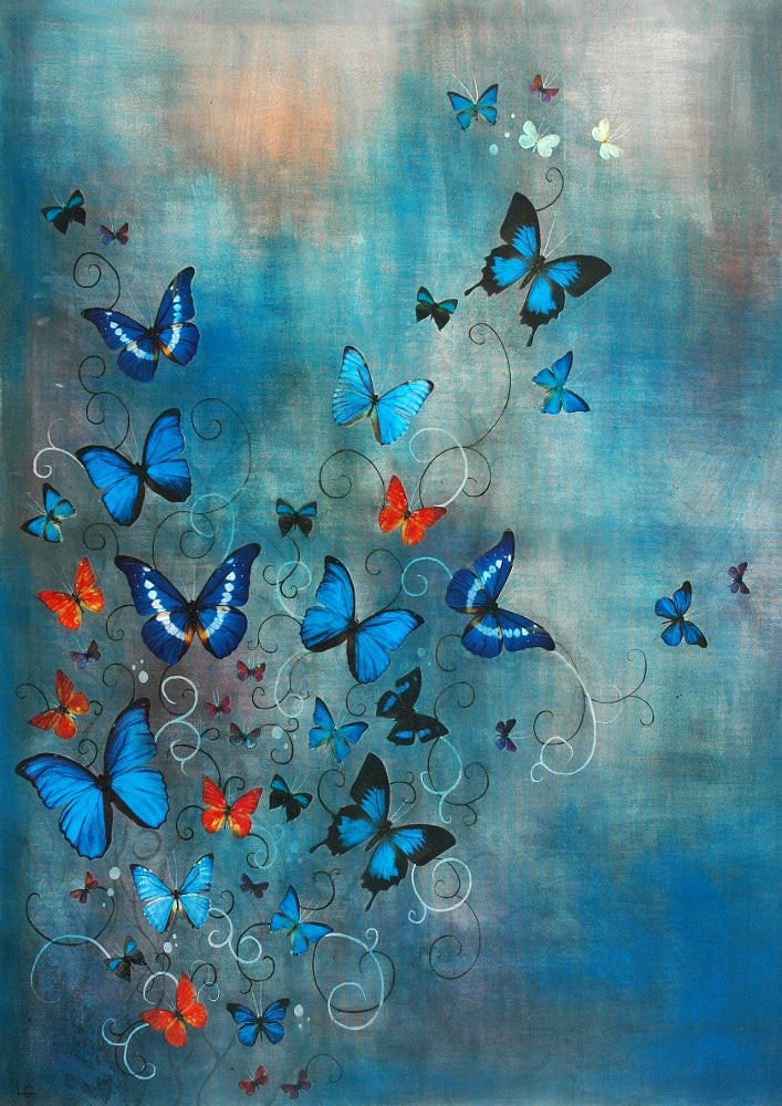 Image of Lily Greenwood Signed Giclée Print - Butterflies on Blue - A2 - Limited Edition