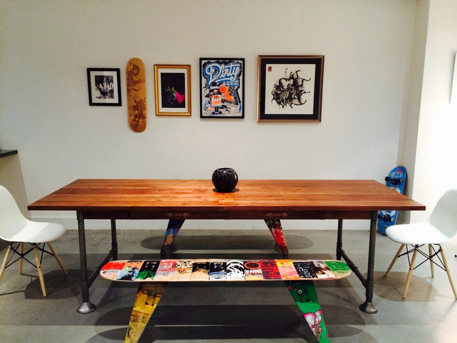 "Image of 60"" Three Seater - Recycled Skateboard Bench"