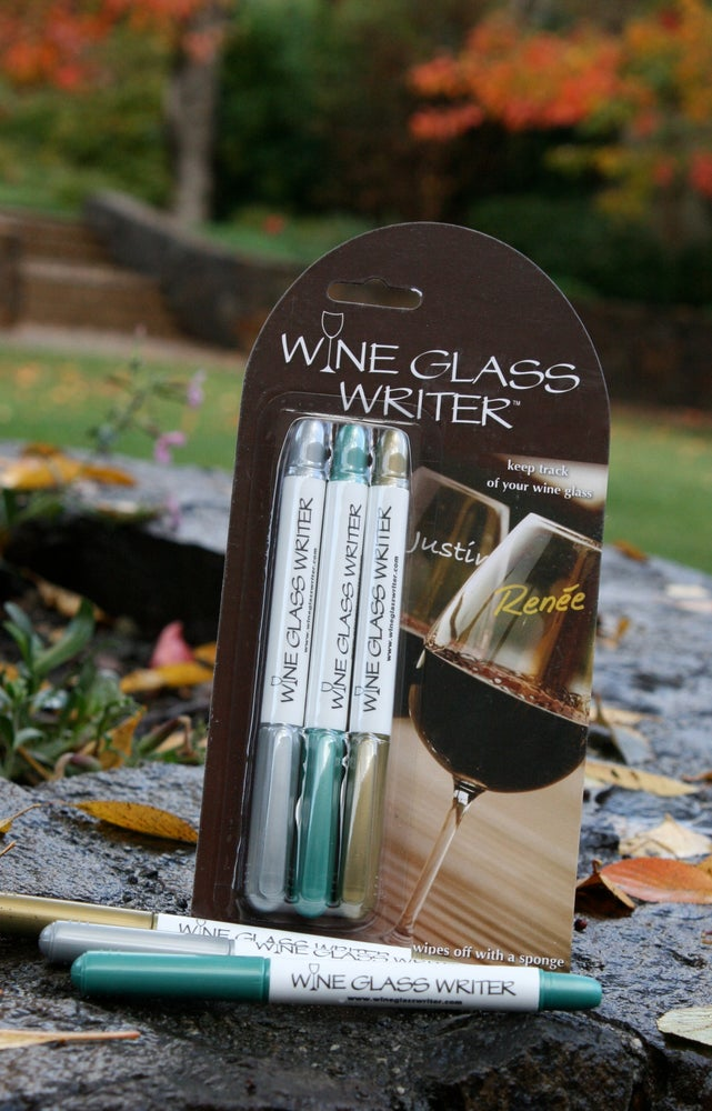 Image of Wine Glass Writer Metallic 3 Pack