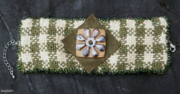 Image of SALE! Checkerboard Flower, handmade woven cuff with raku flower button