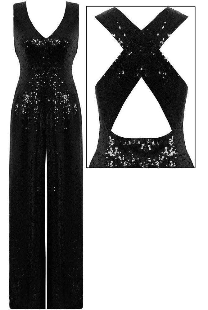 Image of Sequin Crossback Pant Jumpsuit