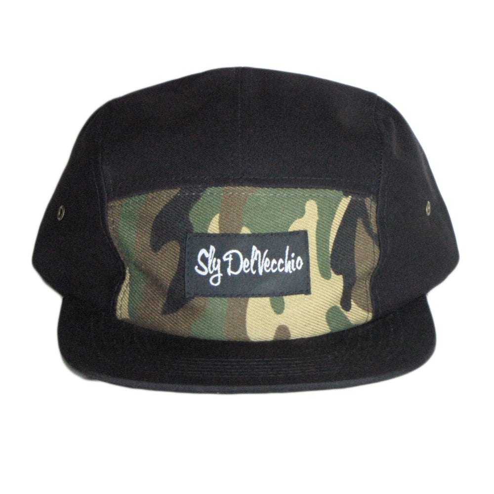 Image of Black/Camo Front 5 Panel Hat