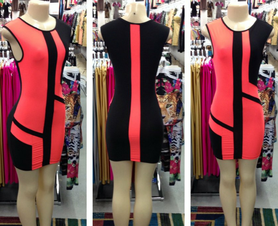 Image of Coral and Black Body con Dress