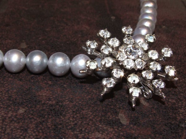 Ella Vintage Diamante Necklace with Fresh Water Pearls - Laura Pettifar Designs