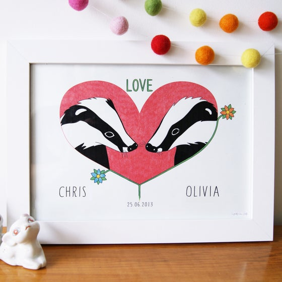 Image of Personalised Love Badgers Art Print